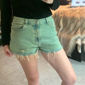 Vintage Green distressed high waisted midrise